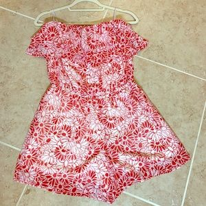 Red and white strapless romper - Charming Charlie